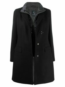 Fay layered single-breasted coat - Black