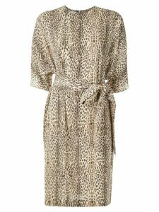 Gloria Coelho belted leopard print dress - Multicolour