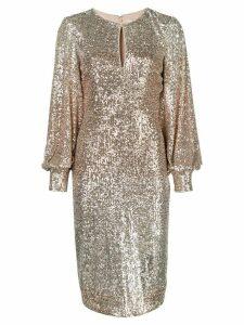 Badgley Mischka sequin embellished dress - Metallic