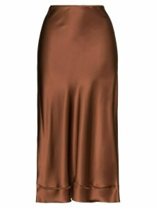 Lee Mathews Stella silk midi skirt - Brown