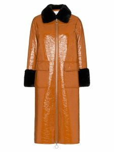 STAND STUDIO Kristen patent leather mid-length coat - Brown