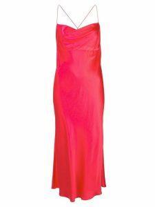 Michelle Mason cowl-neck bias midi dress - PINK