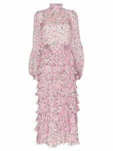 Giambattista Valli tiered ruffled floral-print silk maxi dress - PINK