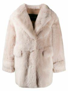 Blancha oversized shearling coat - NEUTRALS