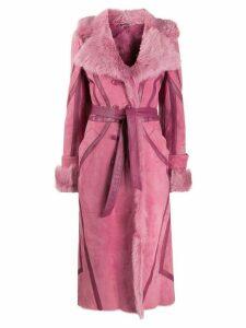 Alberta Ferretti belted shearling coat - PINK
