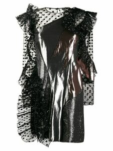 Alberta Ferretti metallic polka-dot print dress - Silver