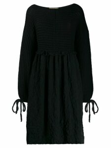 Maison Flaneur long-sleeve flared dress - Black
