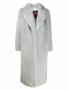 srvz club oversized faux-fur coat - Blue