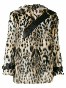 Versace double-breasted leopard print faux-fur coat - White