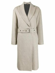 Brunello Cucinelli belted single-breasted coat - Neutrals