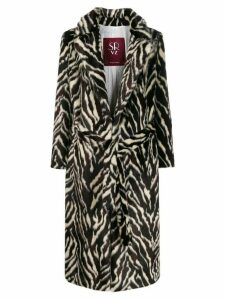srvz club belted animal print coat - Brown