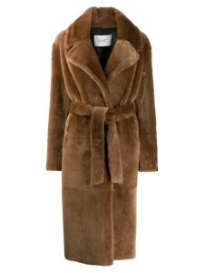 Common Leisure belted longline coat - Brown