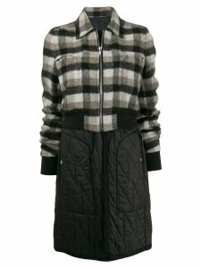 Rick Owens deconstructed check pattern coat - Black