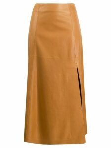 Salvatore Ferragamo side slit A-line skirt - NEUTRALS