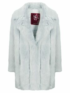 srvz club oversized faux-fur coat - Blue