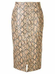 Johanna Ortiz front slip python print skirt - Neutrals