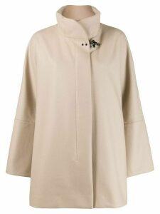 Fay oversized high-neck coat - Neutrals