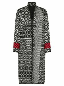 Haider Ackermann oversized mixed pattern long coat - Black