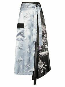 Rave Review Lili wrap-around embroidered midi skirt - Black