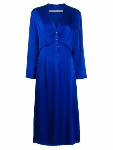 Raquel Allegra V-neck button down dress - Blue