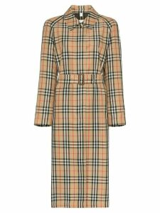 Burberry belted vintage check trench coat - Brown