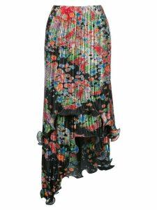 Givenchy floral-print plissé asymmetric skirt - Multicolour