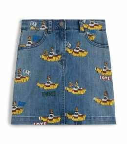 Submarine Print Denim Skirt
