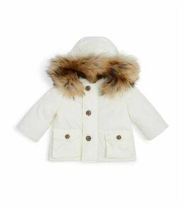 Fur Trim Hooded Coat
