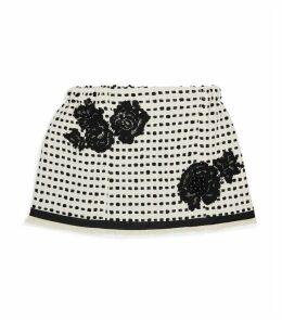 Flower-Embellished Knitted Skirt