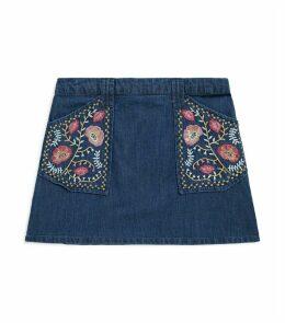 Denim-Embroidered Rhea Skirt