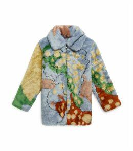 Abstract Print Faux Fur Coat