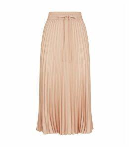 Pleated Pull-On Midi Skirt
