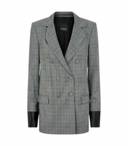 Leather-Detailed Check Blazer