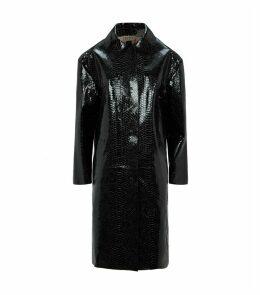 Snake-Embossed Leather Coat
