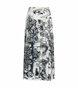 Forest Print Pleated Midi Skirt