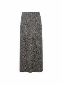 Womens Black Zebra Print Midi Skirt- Grey, Grey