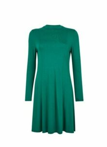 Womens Green High Neck Swing Dress, Green