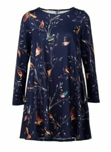 Womens *Izabel London Navy Bird Print Swing Dress- Blue, Blue