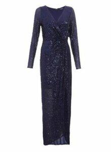 Womens *Quiz Navy Sequin Wrap Maxi Dress, Navy
