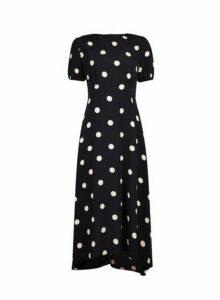Womens Black And Cream Spot Print Puff Sleeve Midi Dress, Black