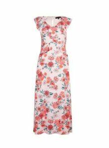 Womens Blush Floral Print Ruffle Midi Dress- Pink, Pink