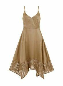 Womens **Little Mistress Khaki Satin Hanky Hem Dress, Khaki