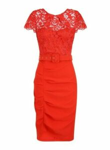 Womens **Paper Dolls Red 2-In-1 Lace Dress, Red