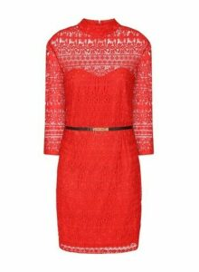 Womens **Paper Dolls Red Lace Bodycon Dress, Red
