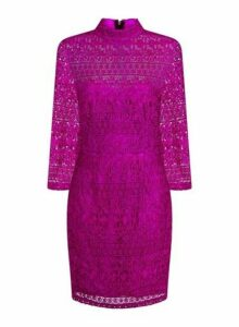 Womens **Paper Dolls Pink Lace Bodycon Dress, Pink