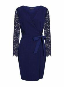 Womens **Paper Dolls Navy Lace Wrap Midi Dress- Blue, Blue