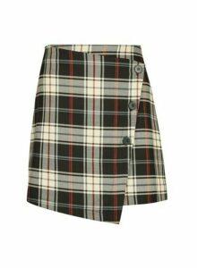 Womens **Only Black Check Print Button Wrap Skirt, Black