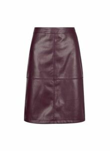 Womens **Vila Wine Red Faux Leather Mini Skirt, Red
