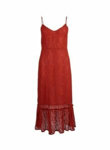 Womens **Vila Red Lace Camisole Midi Dress, Red