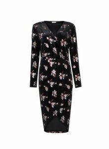 Womens **Vila Black Floral Print Wrap Dress, Black